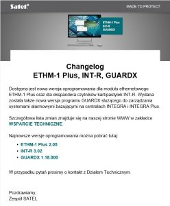 Satel aktualizacja ETHM-1 Plus, INT-R, GuardX